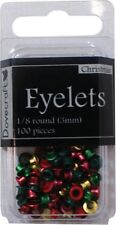 PACK OF 100 EYELETS - Christmas Colours - Dovecraft