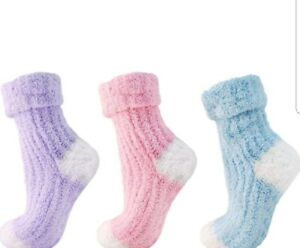 Womens Soft Fluffy Light Pink, and Blue Non Slip Bed Socks Slippers Fit 4-7 UK