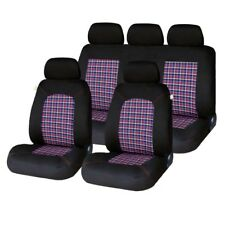 Universal Tartan Plaid Look Car Seat Covers Full Set Washable Airbag Compatible
