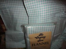 THE COMPANY STORE GINGHAM SEA GREEN WHITE FLANNEL (3PC) QUEEN DUVET SET