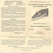 1948- WINTER SCHEDULE- MASS STEAMSHIP LINES- NEW BEDFORD, M. VINEYARD, NANTUCKET