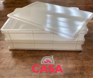 2 x Pizza dough tray case W/ 1 x lid 600mm x 400mm x 100mm stackable storage box