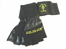 100%LEATHER  GOLD GYM WRIST WRAP SUPPORT WEIGHT LIFTING GLOVES EXERCISE TRAINING