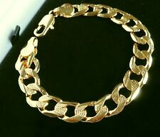 Mens Gold Filled Chunky Curb Chain Link Bracelet ; 12mm, diamond cut design /UK