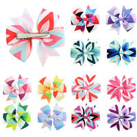 12Pcs Hair Bows Band Boutique Headband Clip Hair Ribbon Hairpins For Baby Girls