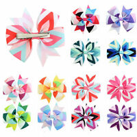 12 Pieces Boutique Hair Bows Girls Baby Alligator Clip Grosgrain Ribbon Headband