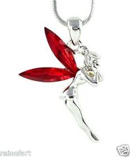 Tinker Bell W Swarovski Crystal Tinkerbell Fairy Wings New Red Pendant Necklace