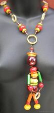 Vintage Colorful Plastic Fantastic Chunky Bead Necklace with Drummer Pendant