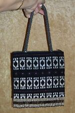NEW Hand Beaded HANDBAG or PURSE ~ Black & Silver Crystal Beads