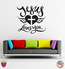 Wall Stickers Vinyl Decal Religion Jesus Love You Cross And Heart (z1701)