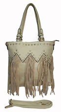 Ladies Cream Leather Fringe Handbag Shoulder Tassel Bag with Western Rhinestones