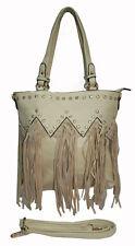 Ladies Cream Leather Fringe Handbag Shoulder Tassel Bag with Western Rhinestones