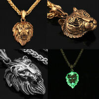 Men's Boy Glow in the dark Hiphop Curb Lion Tiger Head Chain Necklace Jewelry