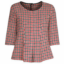 HACHE $695 knit red checkered plaid raw edge AW14 runway half sleeve top 42 NEW