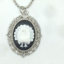 Vintage peacock convex Cameo Charm silver Alloy Lady Pendant Necklace