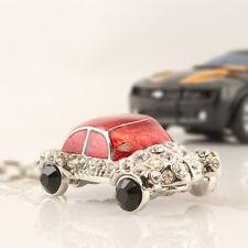 Red Car Keychain Crystal Charm Purse Transportation Key Chain Cute Gift 01142