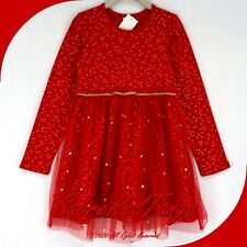 NWT HANNA ANDERSSON SOFT TULLE SHIMMER STAR DRESS RED GOLD 100 4T 4