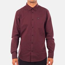 NWT RVCA BUTTON-DOWN SHIRT SIZE MEDIUM THAT'LL DO RED PORT SLIM FIT LONG SLEEVE