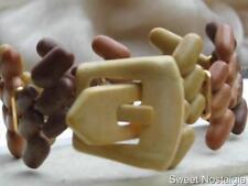 VINTAGE TRE Tone Brown elasticizzata Braccialetto in plastica MARCATO HONG KONG TM