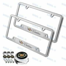 X2 For CADILLAC Silver Metal Stainless Steel License Plate Frame + Black Cap Set