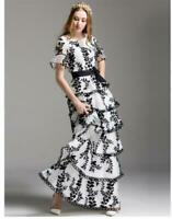 Womens LOng Dresses Embroidery Crewneck Short Sleeves Party Slim Belt Elegant SZ