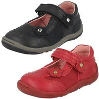 Girls Startrite Dark Red Leather Shoes F/G Fitting Petals