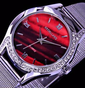 Excellanc Damen Mesh Armband Frauen Uhr Rot Schwarz Silber Farben Strass M51