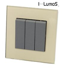 I LumoS AS Luxury Gold Glass & Grey 13A UK Single/Double Socket & Light Switches