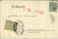 "Poland LOCAL POST `5`Groszy Surcharged ""6gr""-WARSZAWA 28/V/1915-postcard"