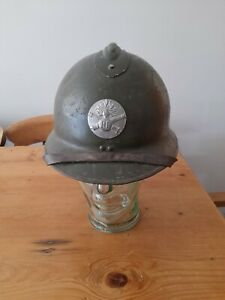 WW2 Helmet French Adrian with Artillery badge Liner and Chinstrap