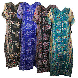 New Womens Long Kaftan Summer Tunic Holiday Dress Beach Cover up fits Size 12-26