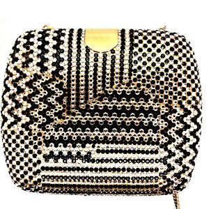Classic Judith Leiber Evening Bag Black & White Crystals w/Gold Comb and Mirror
