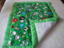 Lovely Handmade Baby Green Football/Rugby Padded Cover - Green Satin Binding