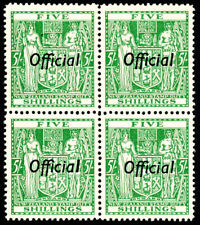 NZ ARMS TYPE FISCAL 5/- GREEN OFFICIAL-BLK 4-UHM- MULTI WMK INV -VALUE $NZ1560