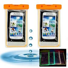 2x Luminous Glow Waterproof Underwater Pouch Bag Dry Case Cover For Cell Phone