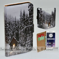 For OPPO Series - Snow Forest Theme Print Wallet Mobile Phone Case Cover