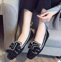 Womens Round Toe Sequins Rhinestone Bowknot Loafers 02WH Flat Casual Boat Shoes