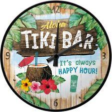 Aloha TIKI Bar always Happy Hour Wanduhr - 31 cm Durchm. mit Metallgeh. neu+ovp
