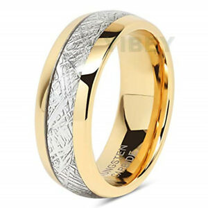 8MM Comfort Fit Tungsten Carbide Men's Ring Stone Style Inlay Gold Two Tone Band