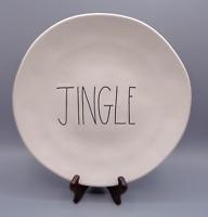"Rae Dunn Plate Christmas JINGLE Holiday Decor Dinner 11"" Fun Ivory White"