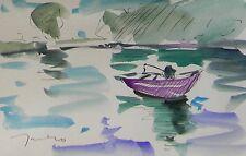 JOSE TRUJILLO ORIGINAL Watercolor Painting IMPRESSIONISM FISHING FISHERMAN BOAT