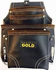 Leather Gold SUPREME ,Ten Pocket, Oil Tanned, Tool Pouch, With, Hammer Holders