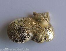 Patchwork Calico Cat Brooch Dress Pin Estate Gold Plated Designer Signed Ajc
