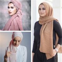 Arab Women Crinkle Scarves Warp Long Scarf Muslim Hijab Islmiac Shawl Headwear