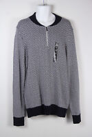New Sean John 1/2 Zip Pullover Sweater 2XL Navy Blue White Mens