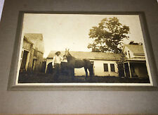 Antique Old Man & Hat, Holding Horse on Farm! Animal Cabinet /  Photo on Board!