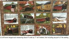 Beautiful Covered Bridges Panel 1 cotton Quilt fabric by Riverwoods 12 Blocks
