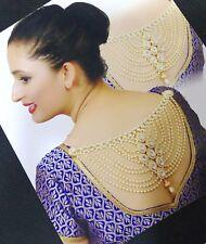 Designer 18K GP CZ Bollywood Indian Bridal Saree Blouse Jewerly Accessory