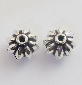 50 PCS 10MM RONDELLE FLOWER BEAD OXIDIZED STERLING SILVER PLATED 917