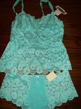 NWT CABERNET NYLON SPDX LACE ROUCHED HIPSTER PANTIES CAMI SET 4236 4221 AQUA XL